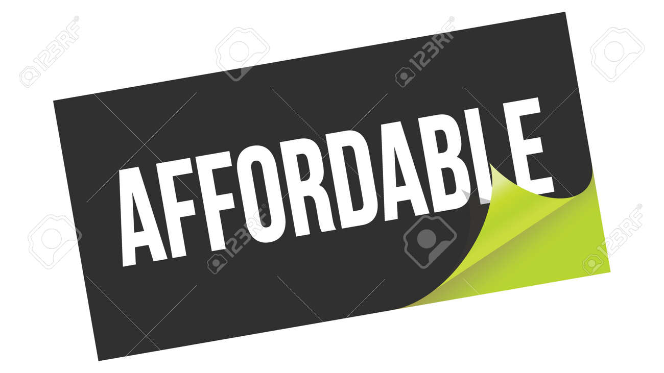 AFFORDABLE text written on black green sticker stamp. - 169909199