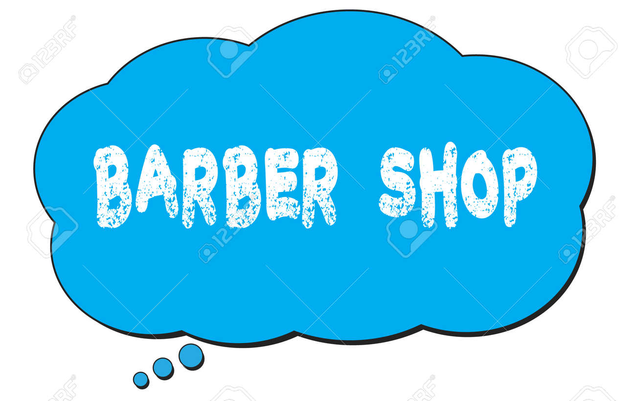 BARBER SHOP text written on a blue thought cloud bubble. - 169909207