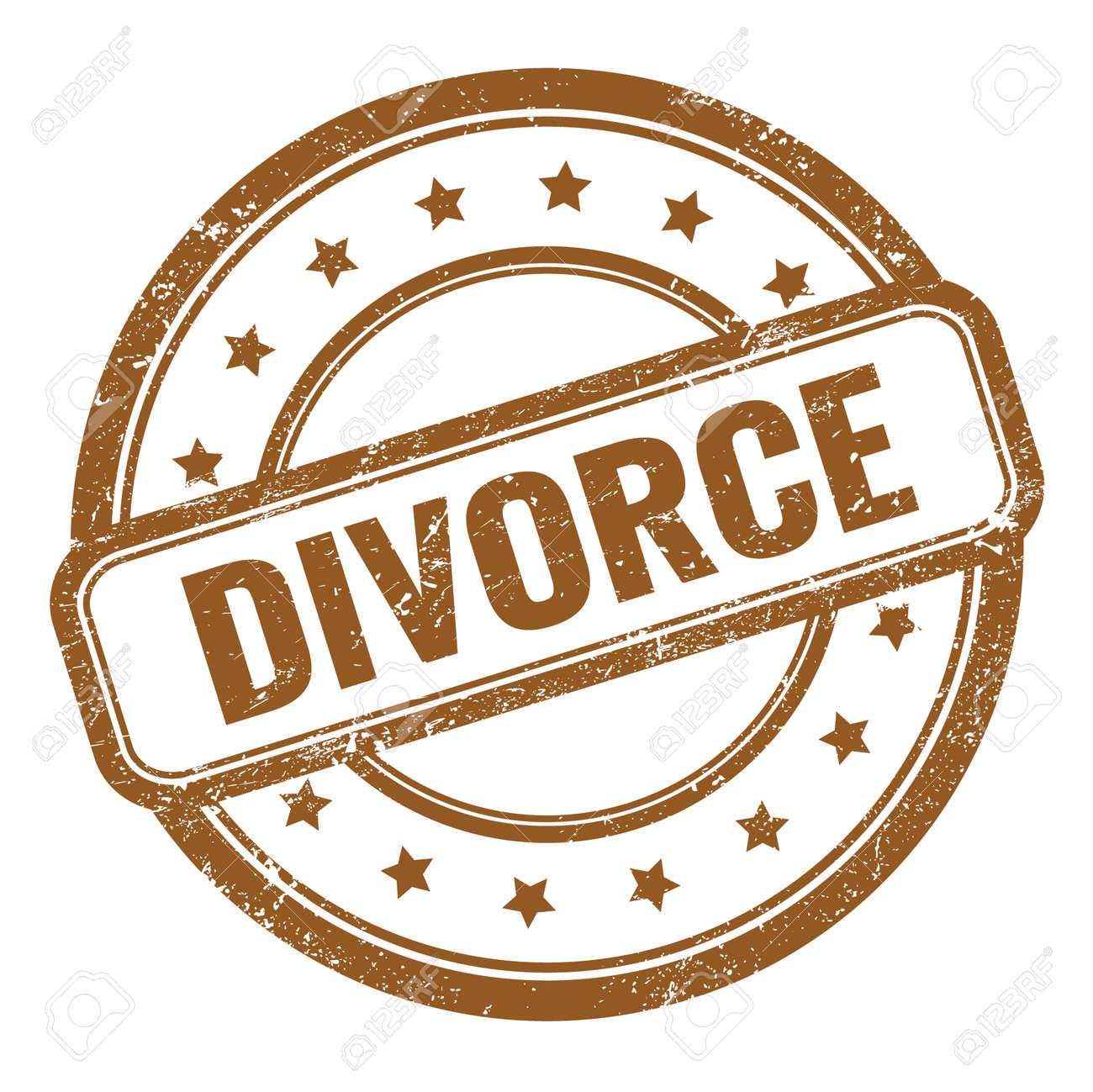 DIVORCE text on brown grungy vintage round rubber stamp. - 169909336
