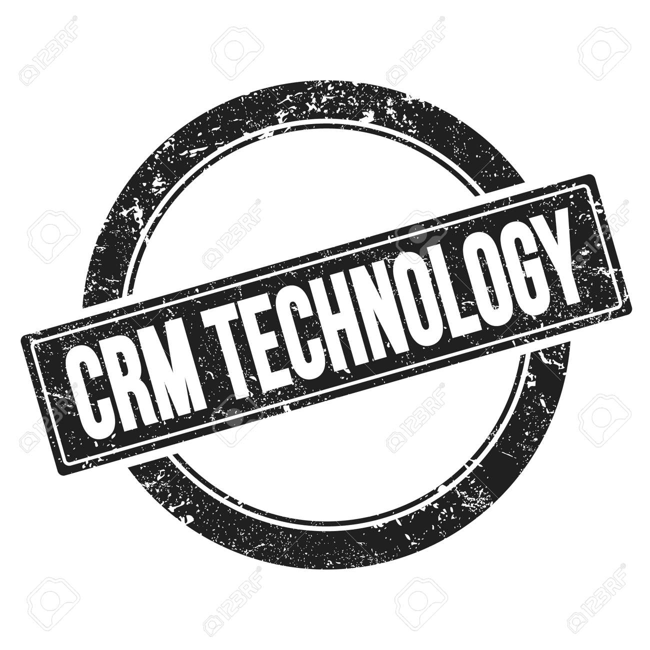 CRM TECHNOLOGY text on black grungy round vintage stamp. - 169909337