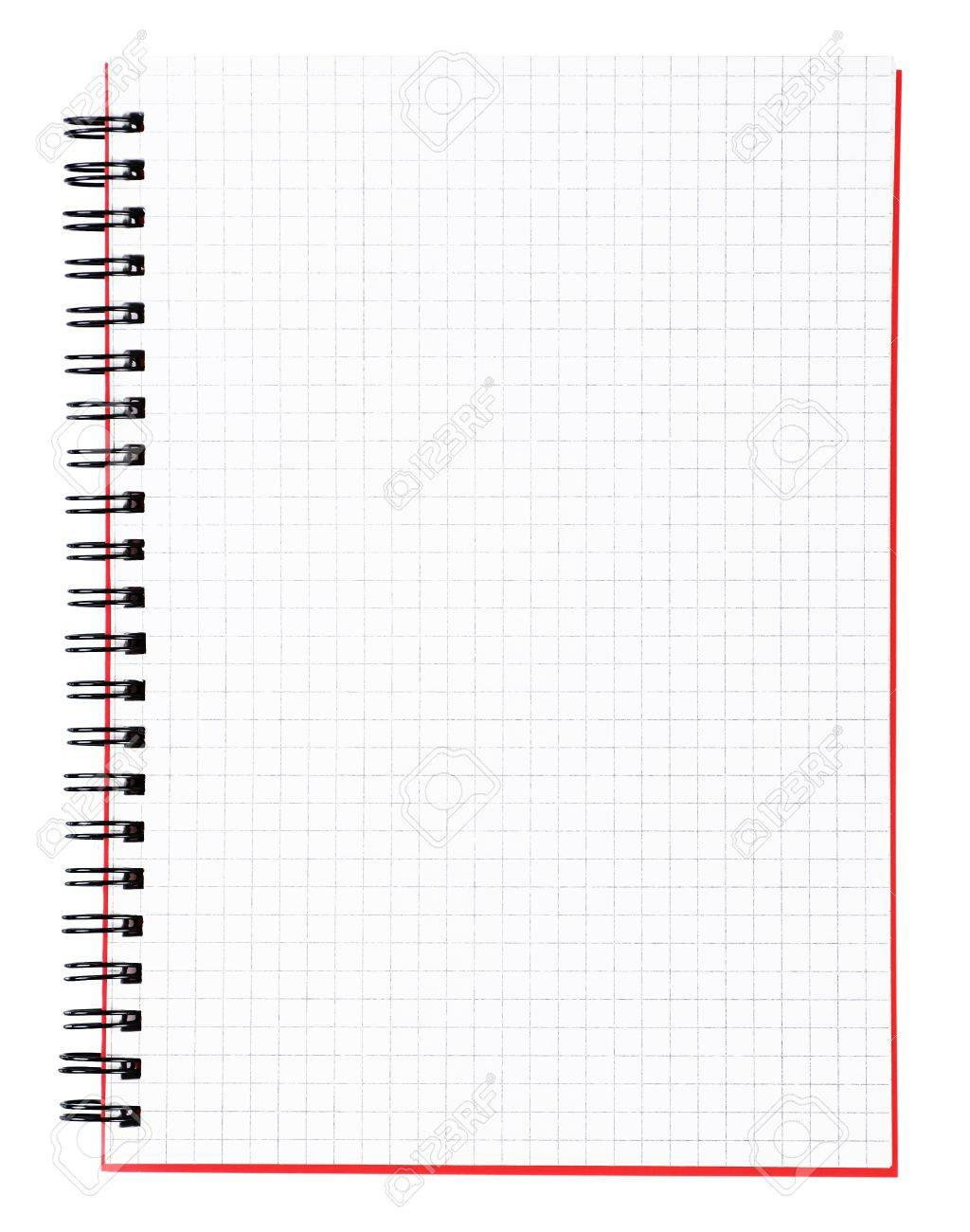 blank page of a notebook with black binder and red cover vertical