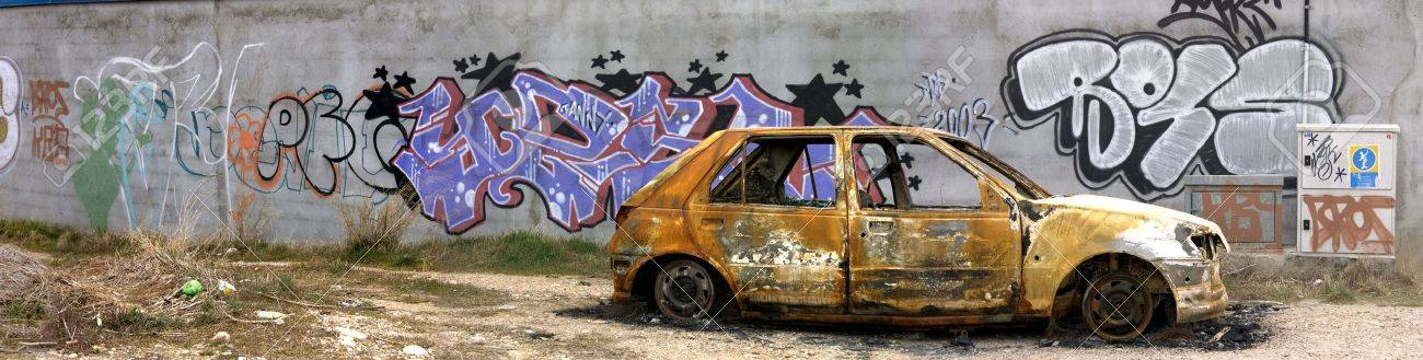 Picture of an burned car. Stock Photo - 6645145
