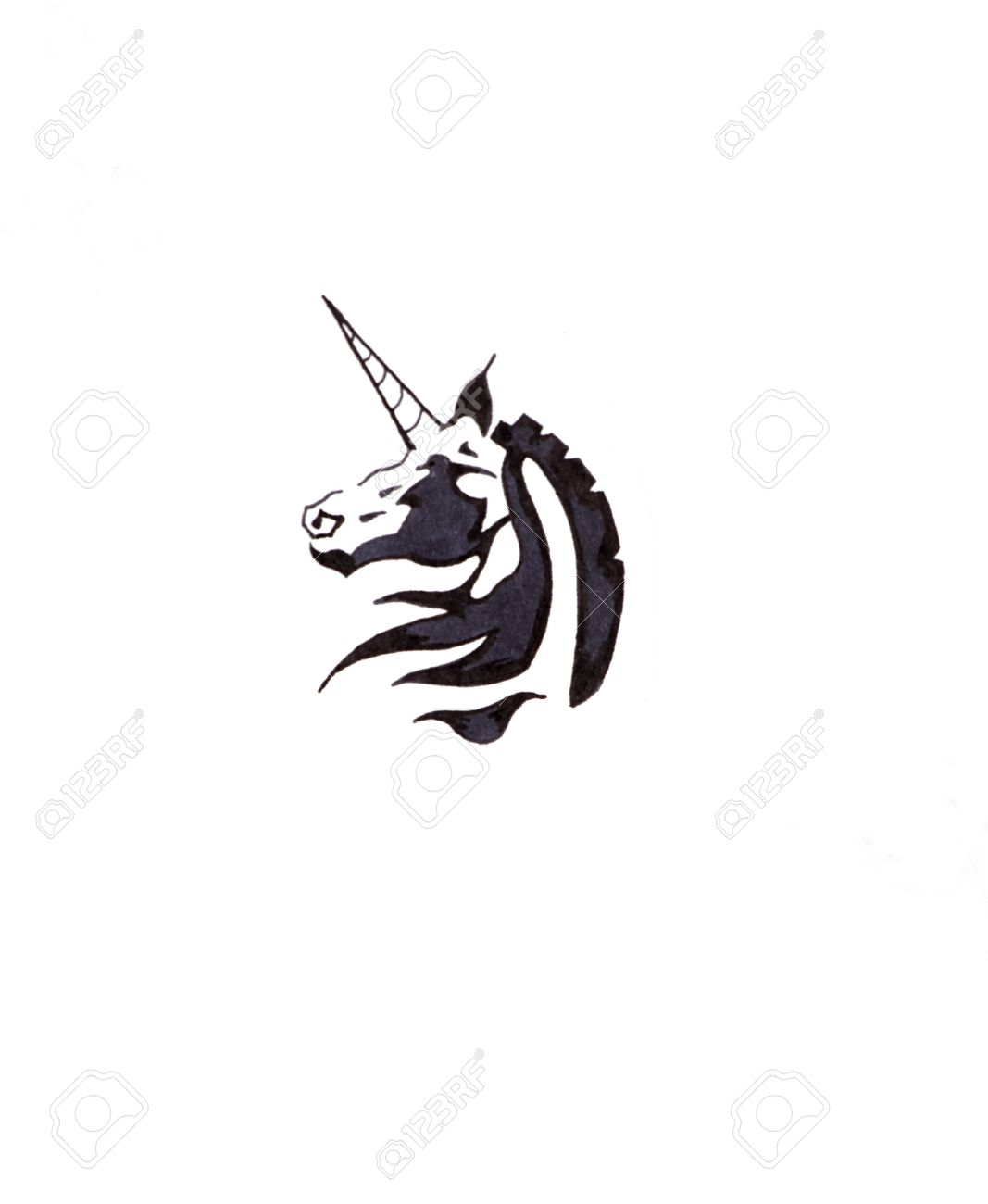 Sketch of tattoo art, horse, unicorn Stock Photo - 8207174
