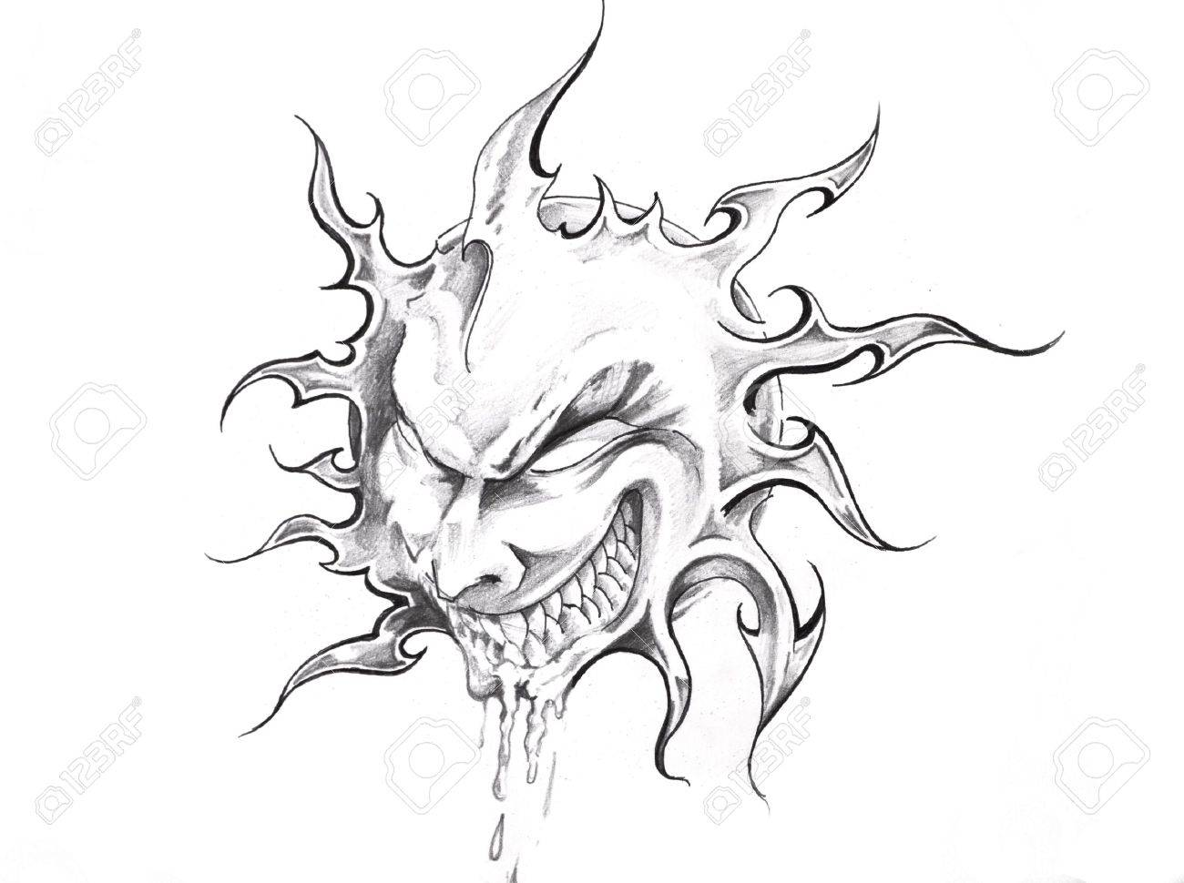 Line Drawing Face Tattoo : Sketch of tattoo art sun with face stock photo picture and