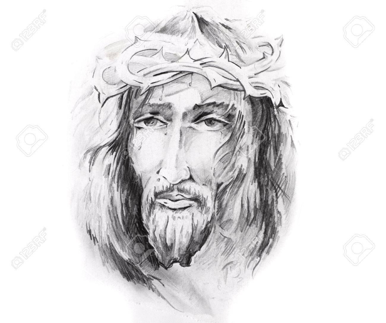 Croquis D Art Du Tatouage Jesus Christ Banque D Images Et Photos Libres De Droits Image 8207309