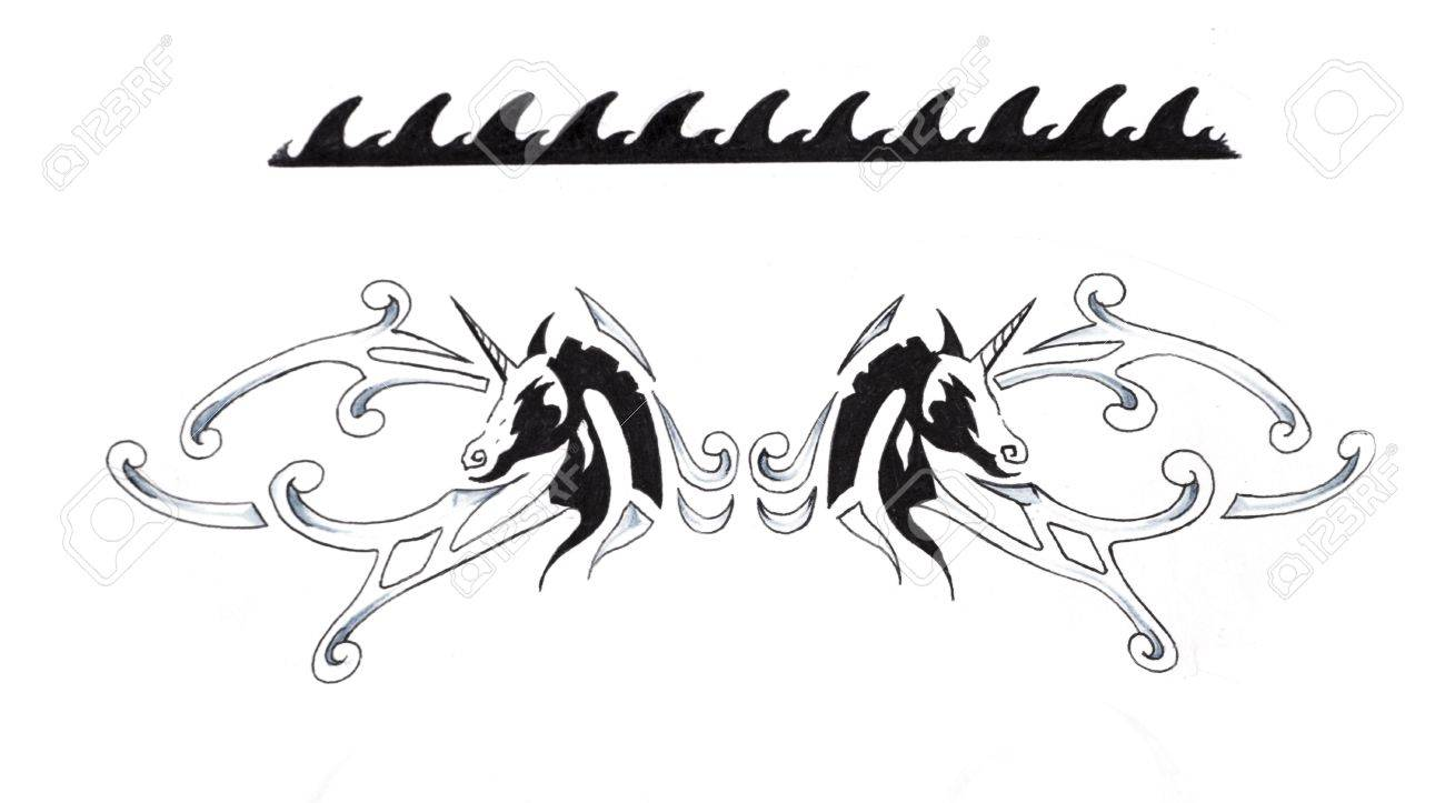 Sketch of tattoo art, Tribal Bracelet