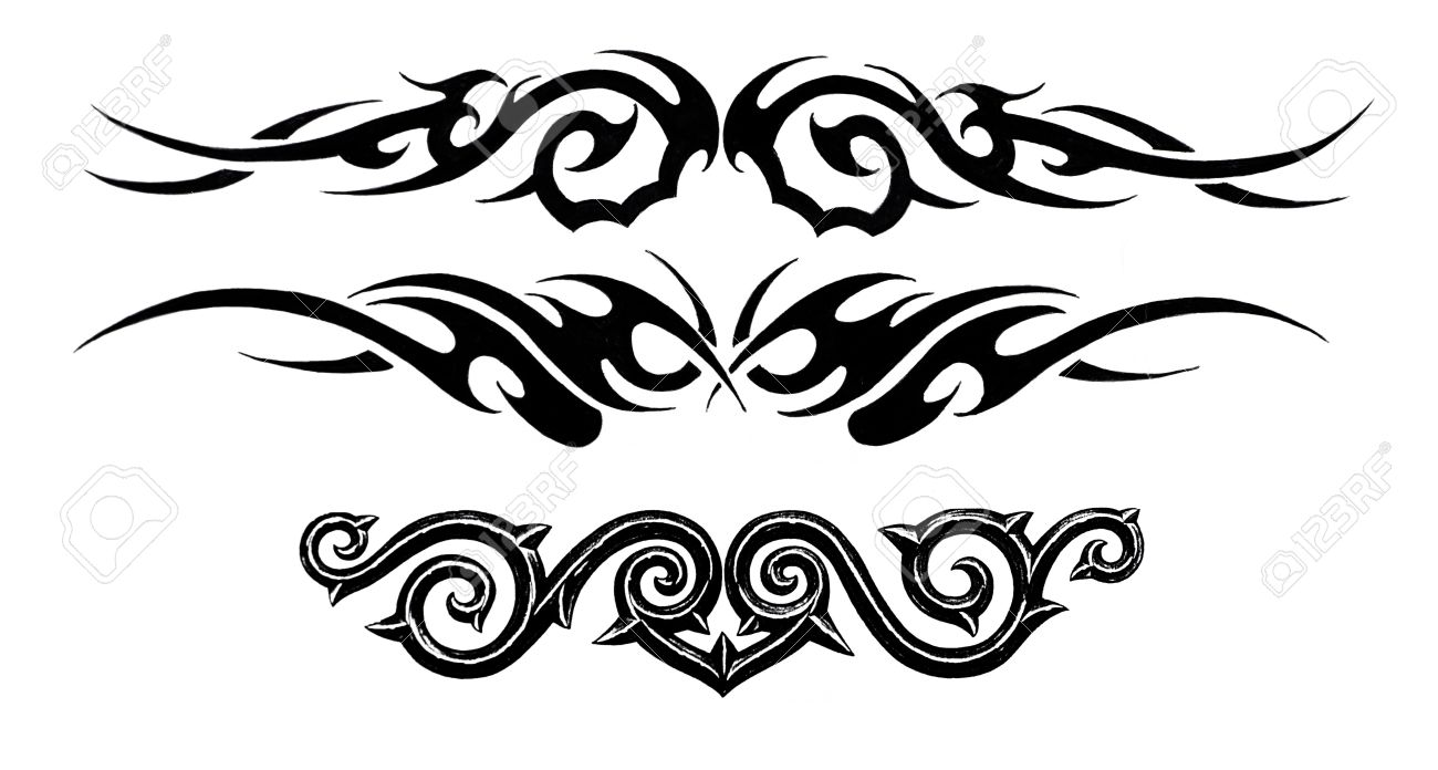 Tattoo Art Sketch Of A Black Tribal Bracelet Stock Photo Picture