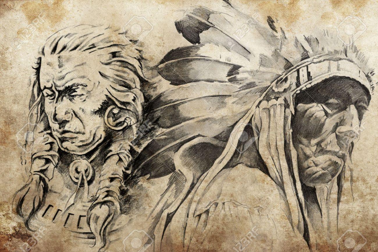 Croquis De Tatouage De Guerriers Indiens D Amerique Fait A La Main