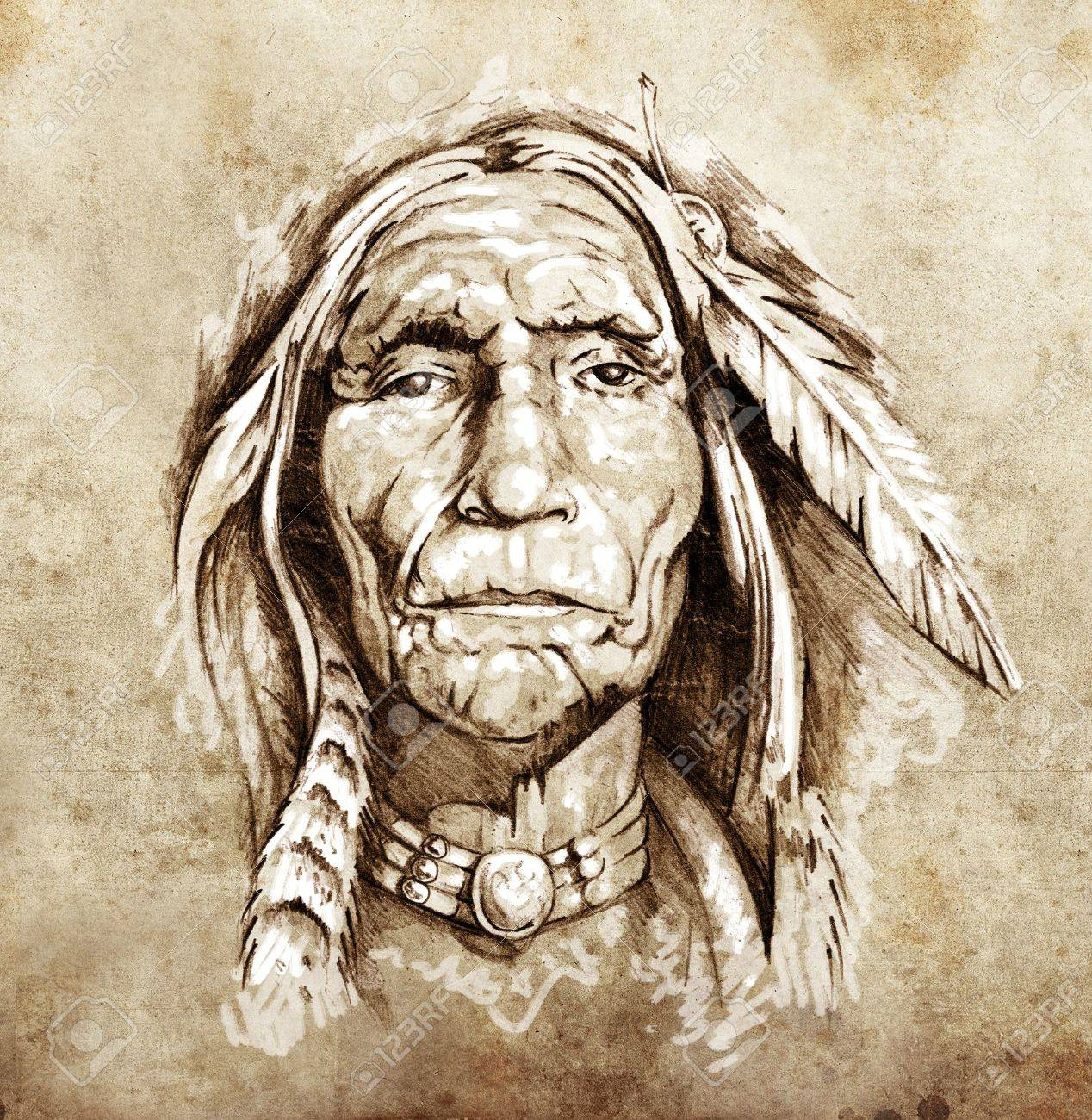 Sketch of tattoo art, portrait of american indian head Stock Photo - 13028574