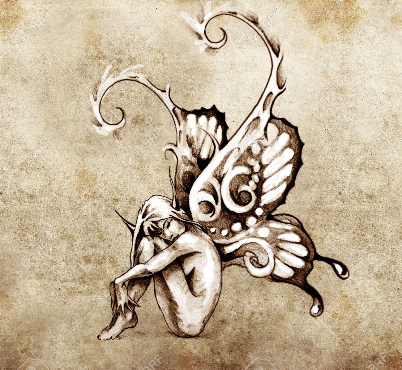 Croquis De Tatouage croquis de l'art du tatouage, fée avec des ailes de papillon banque