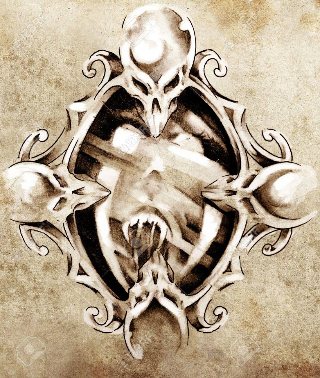 Sketch of tattoo art, magic mirror Stock Photo - 13028116