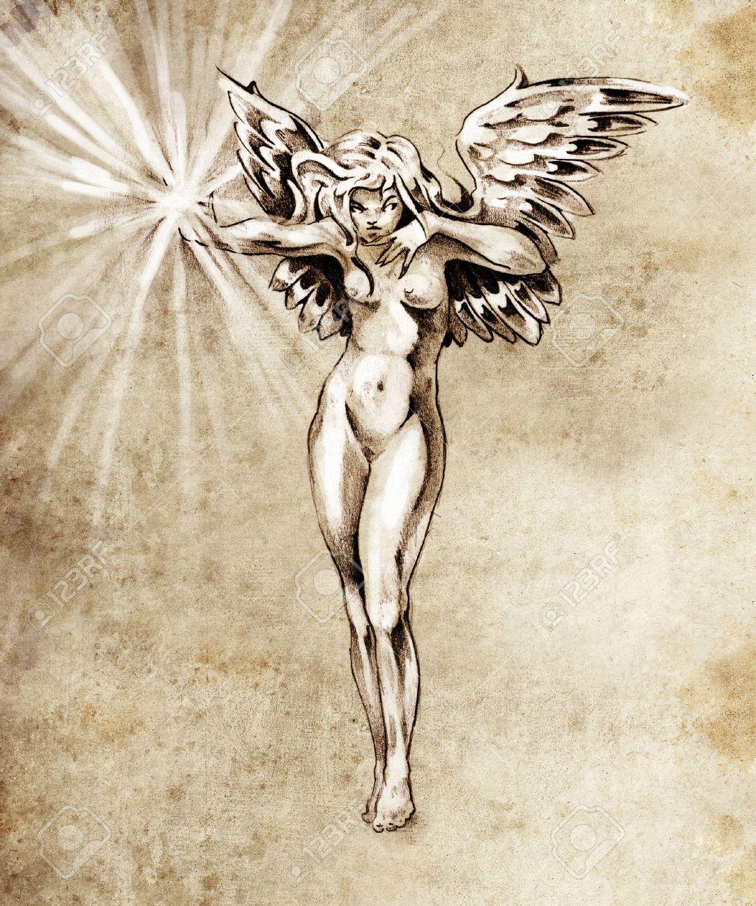 Croquis De L Art Du Tatouage De Fees Ange Femme Nue Banque D