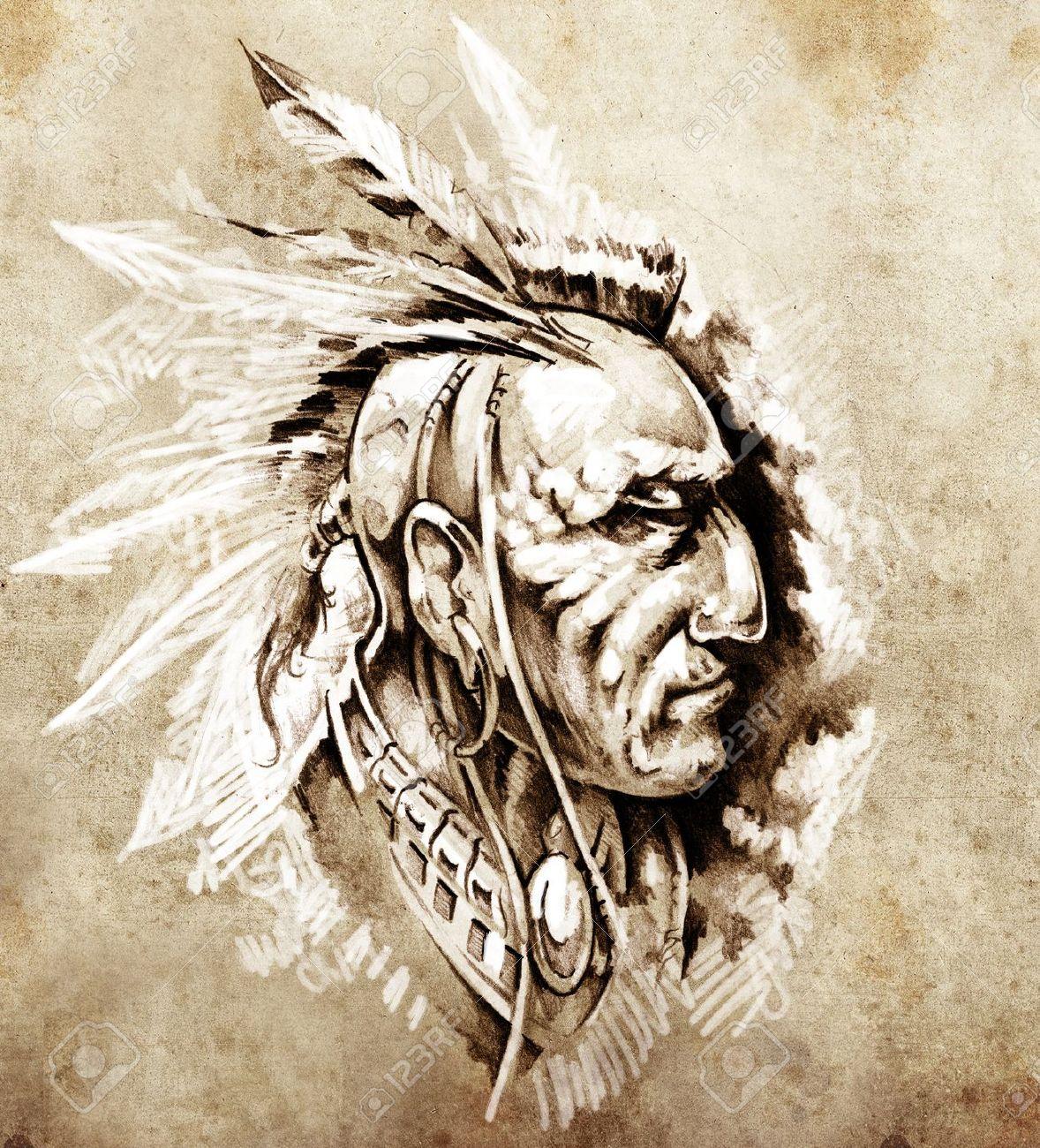 Boceto De Arte Del Tatuaje, Jefe Indio Americano Ilustración Fotos ...