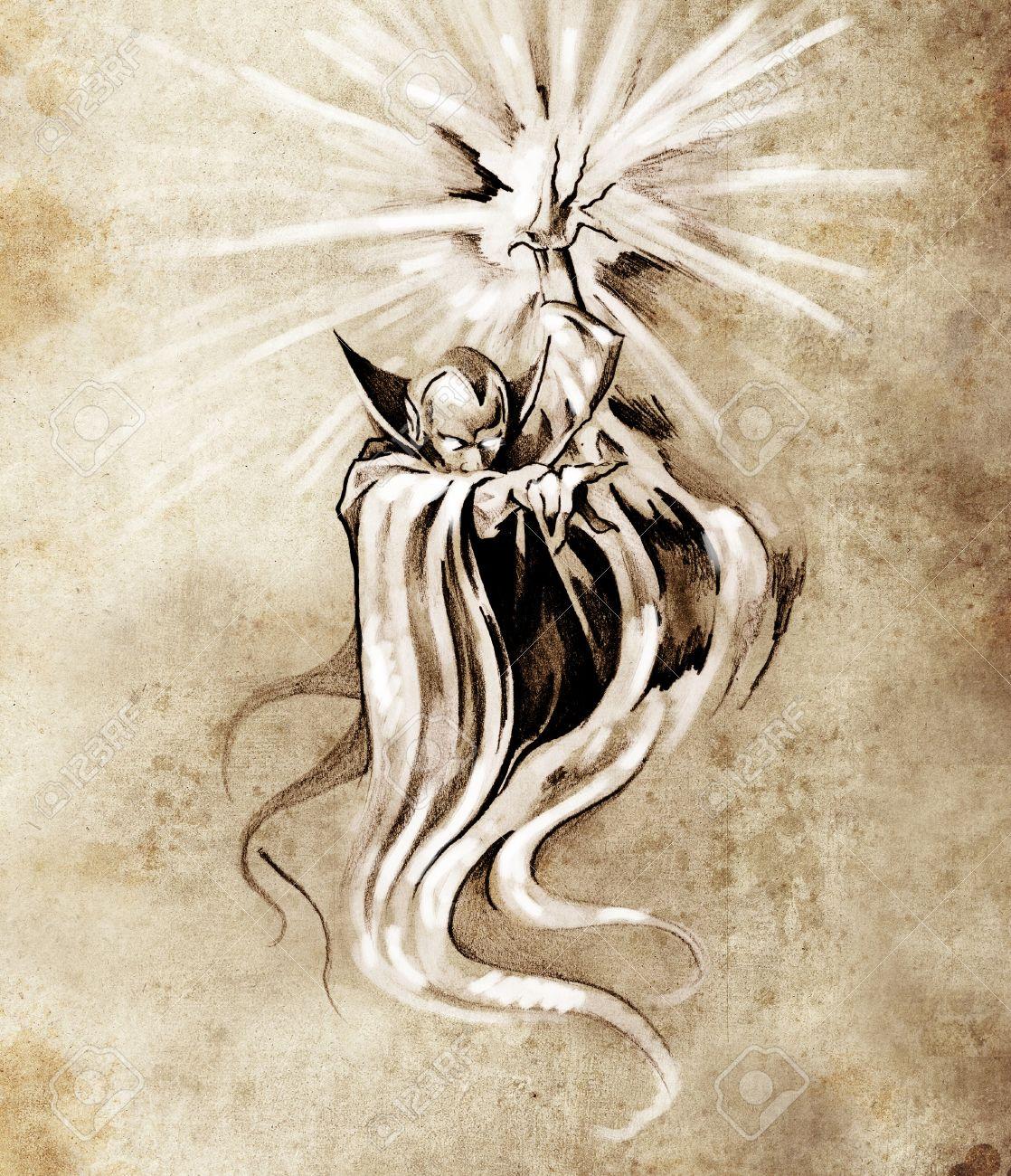 Sketch of tatto art, warlock, sorcerer, halloween concept Stock Photo - 13028328