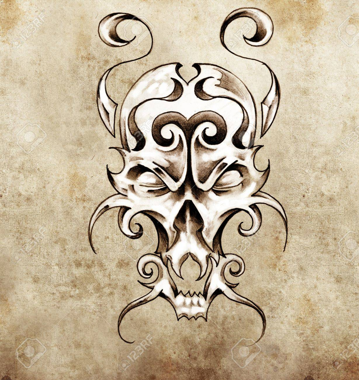 Sketch of tattoo art, monster mask with decorative elements Stock Photo - 13028492