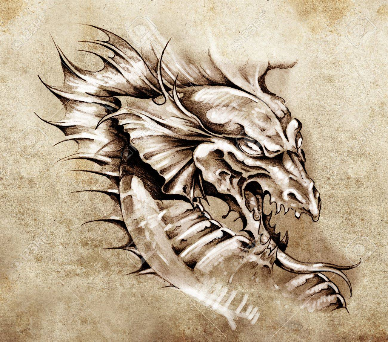 Sketch of tattoo art, dragon over antique paper Stock Photo - 13100759