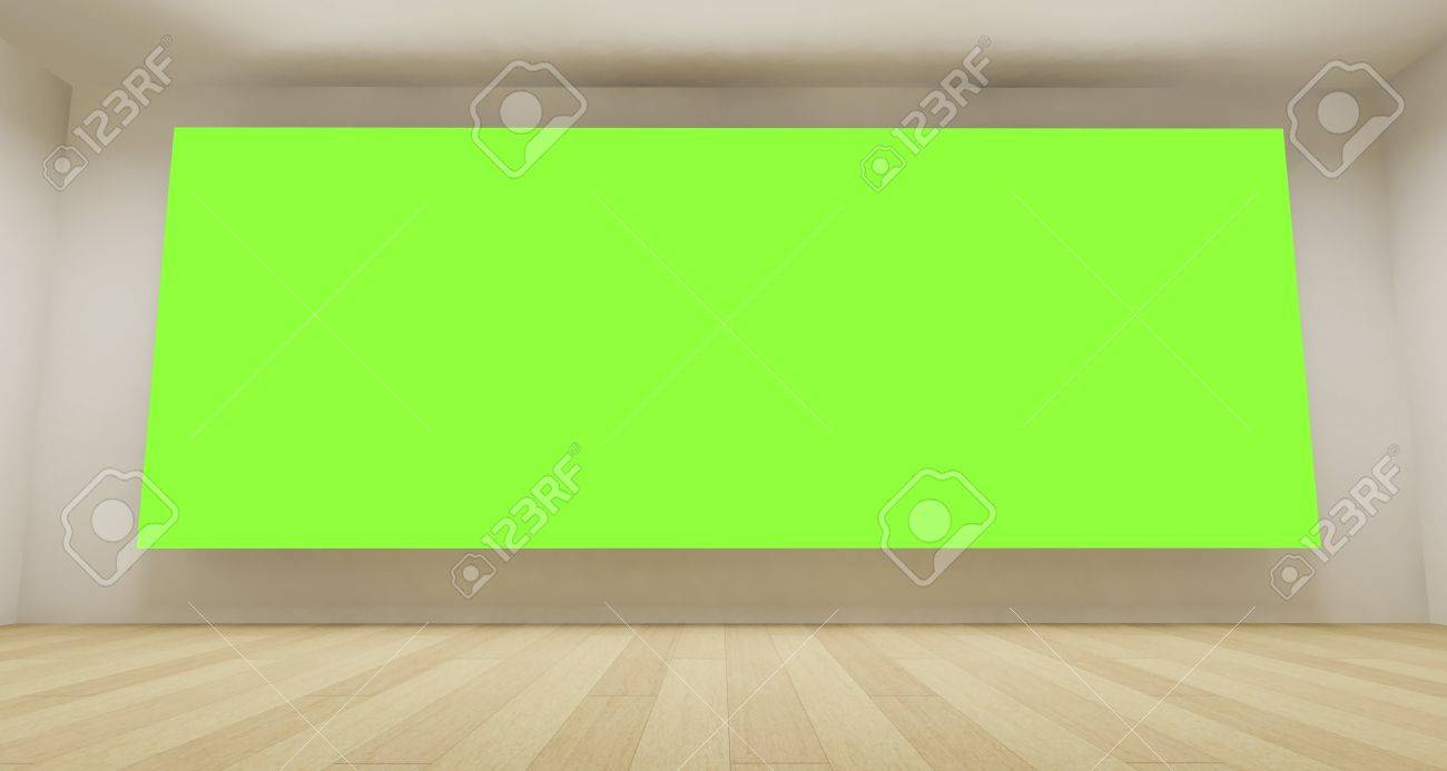 Empty room with green chroma key backdrop, 3d art concept, clean space Stock Photo - 13200487