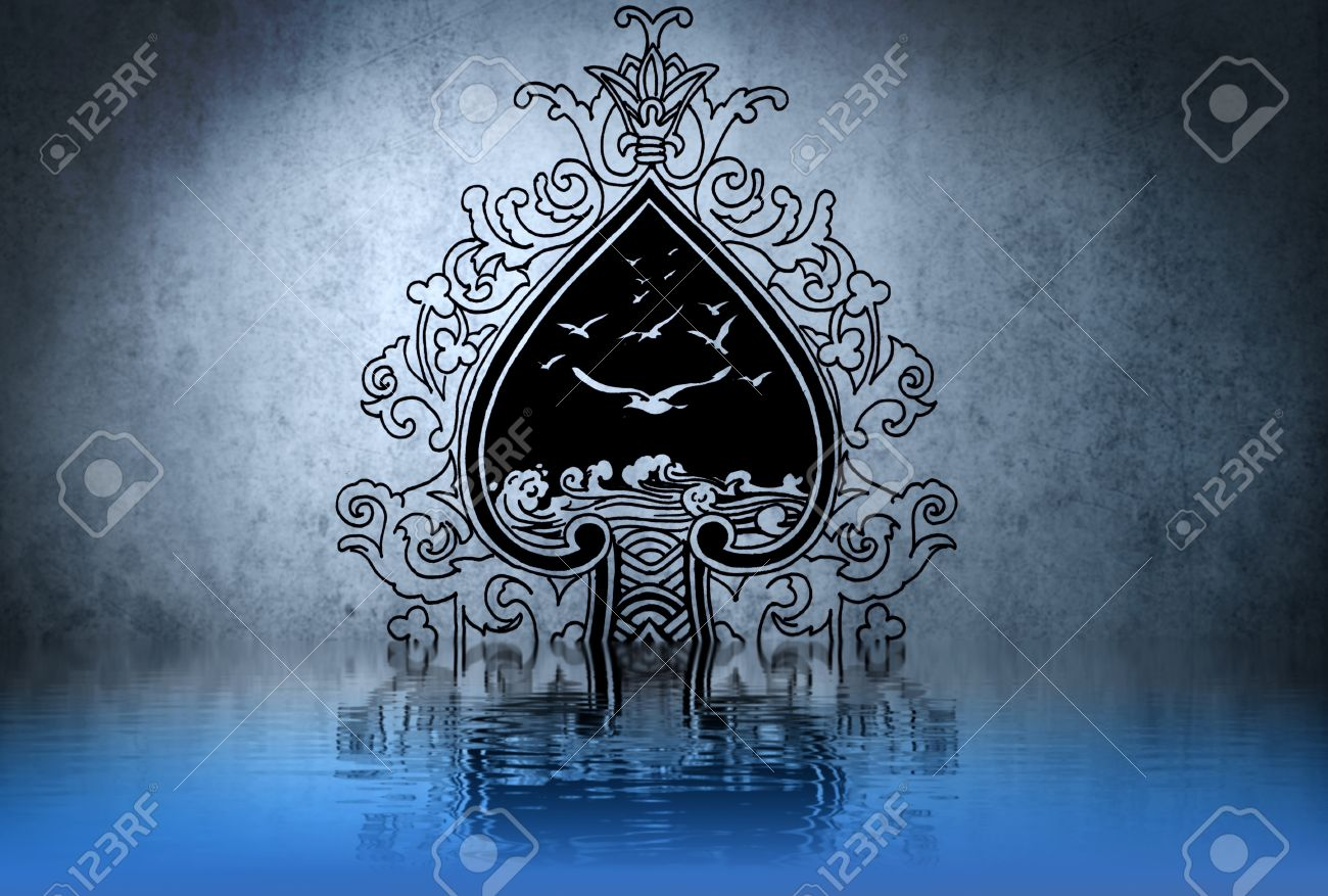 Celtic tattoo drawing on blue wall with water reflections Stock Photo - 13344499