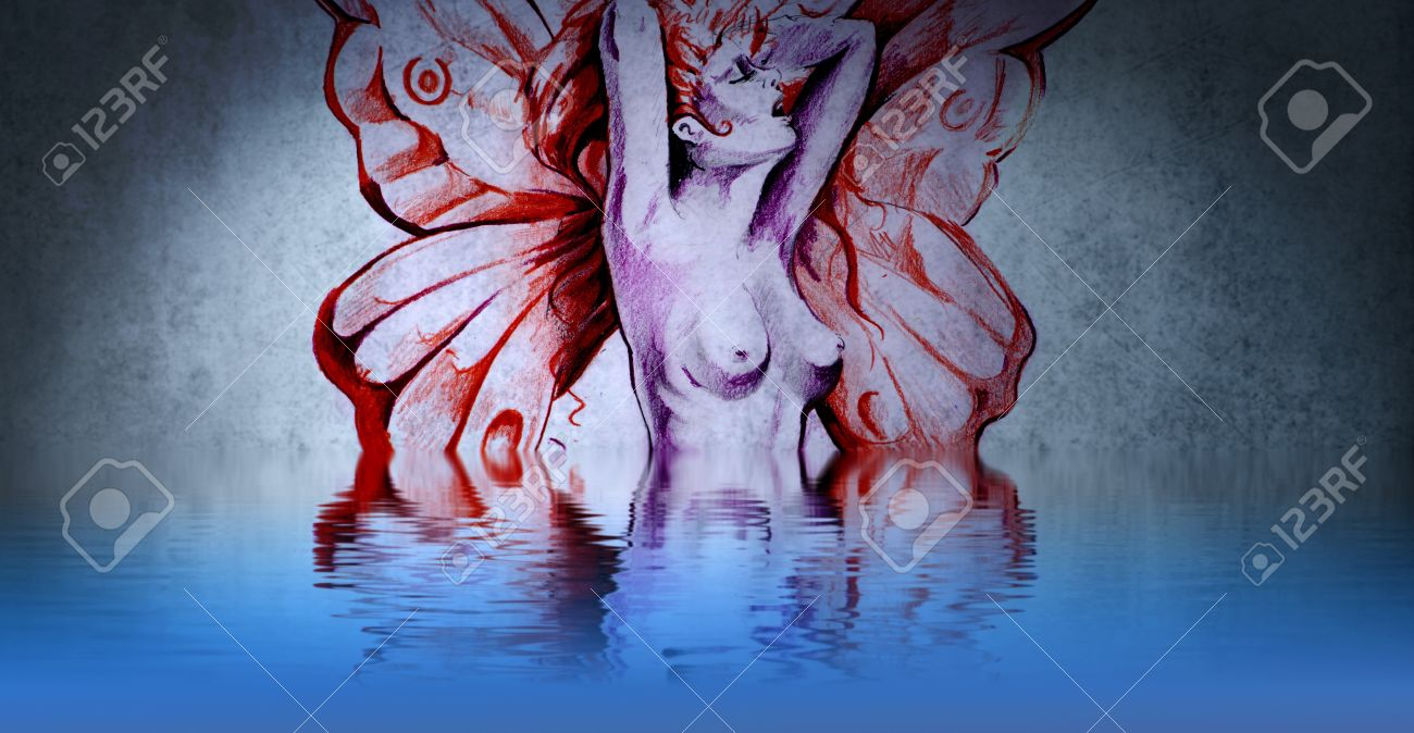 A beautiful fairy tattoo naked with water reflections Stock Photo - 13344487
