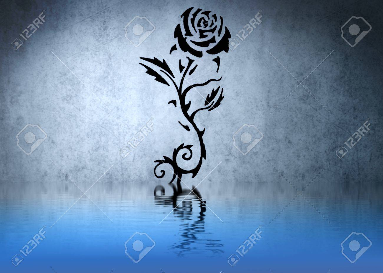 Tattoo Of A Black Rose With Thorns With Water Reflections Stock