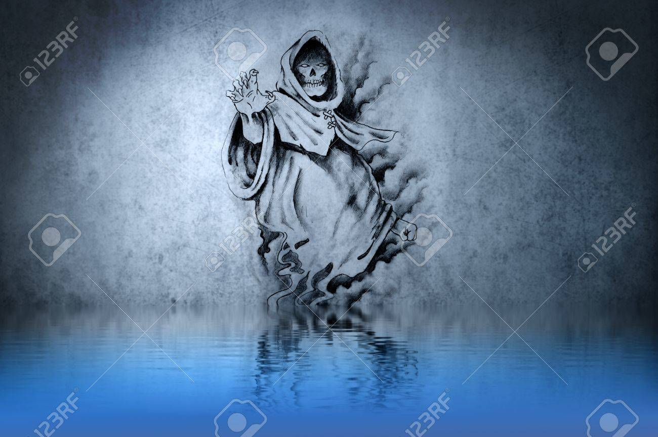Tattoo drawing on blue wall with water reflections Stock Photo - 13344497