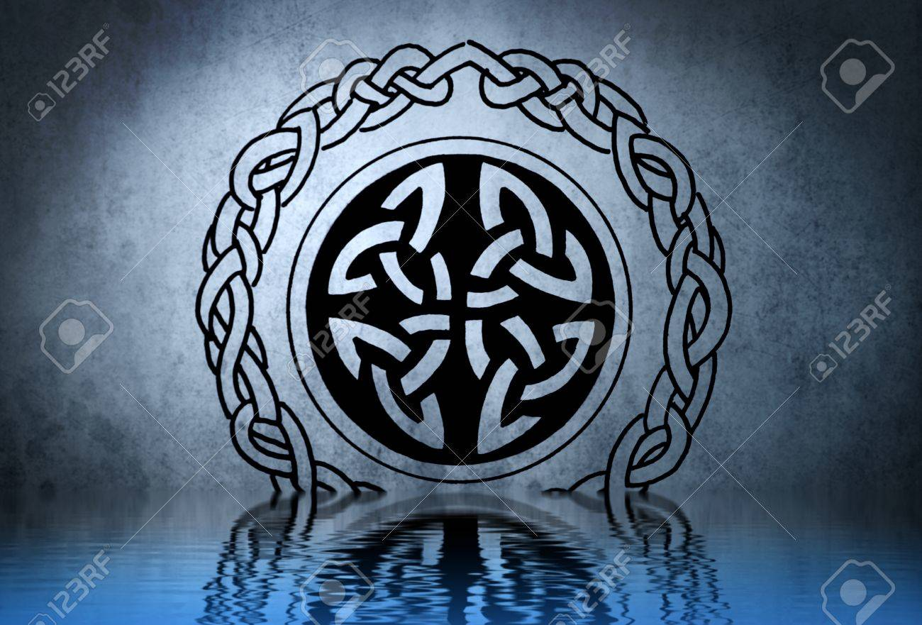 Celtic Tattoo Drawing On Blue Wall With Water Reflections Stock