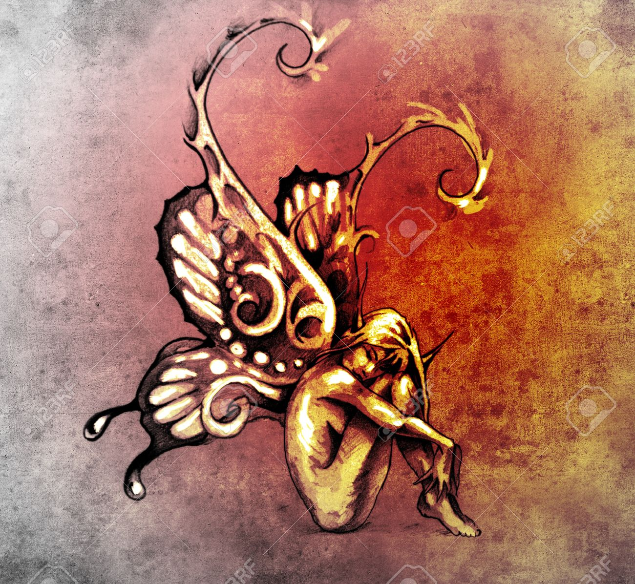 Sketch of tattoo art, fairy with butterfly wings Stock Photo - 13437205