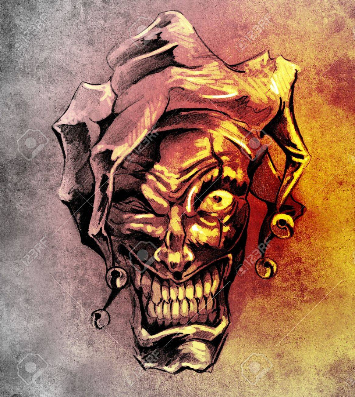 Fantasy Clown Joker Sketch Of Tattoo Art Over Dirty Background Stock Photo Picture And Royalty Free Image Image 13454219