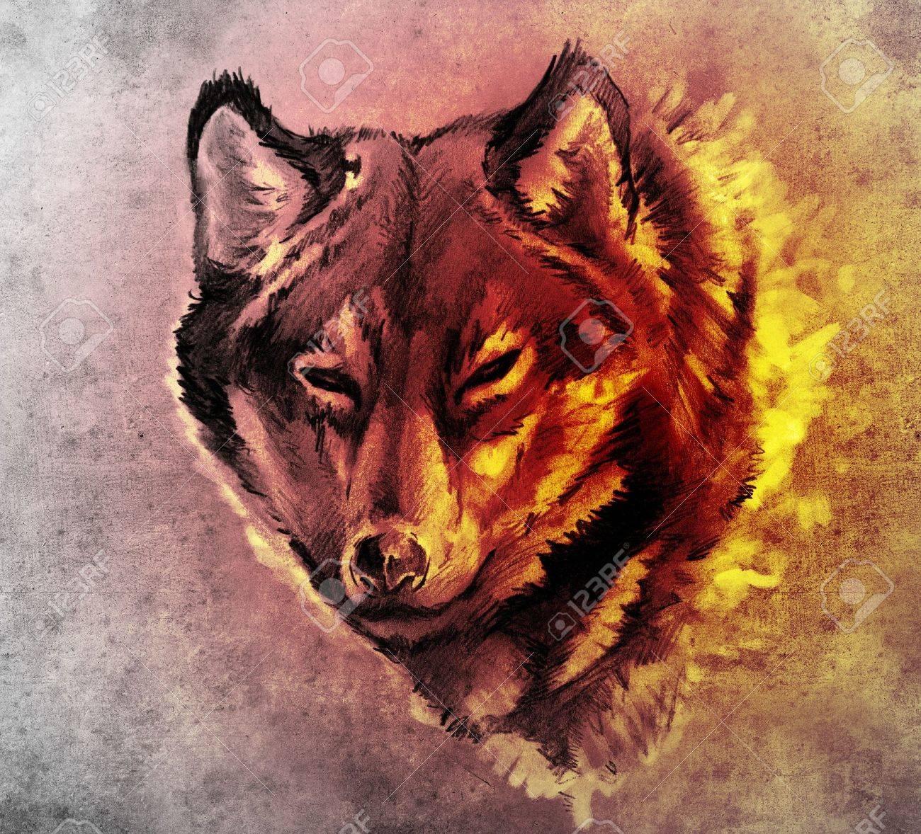 Boceto De Arte Del Tatuaje La Ilustración De Una Cabeza De Lobo