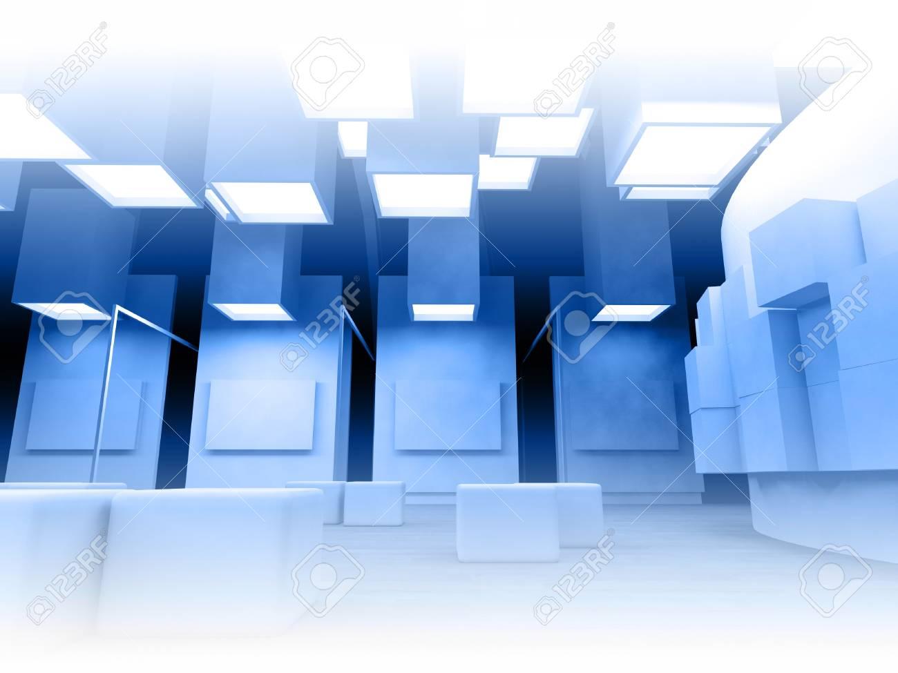 Galería De Arte Con Marcos En Blanco, Moderno Edificio, La ...
