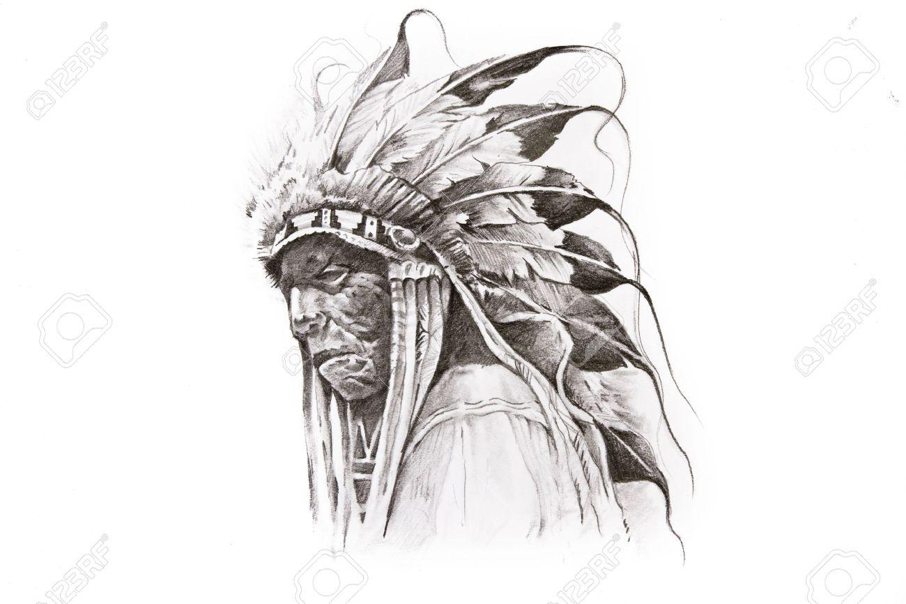 Croquis De Tatouage De Guerrier Autochtone Indien De L Amerique