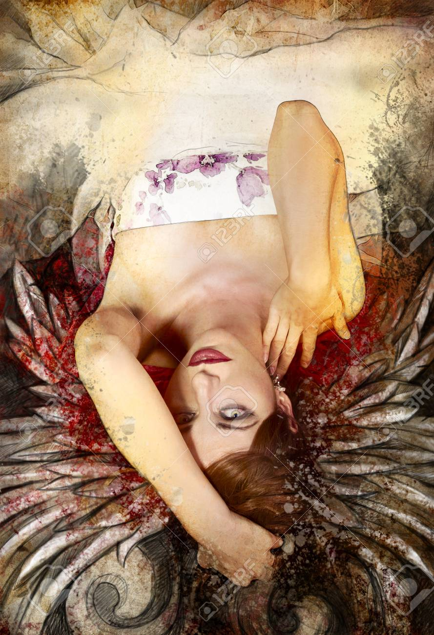 Mixed media, beautiful woman with red hair with wings, art illustration Stock Illustration - 16959287
