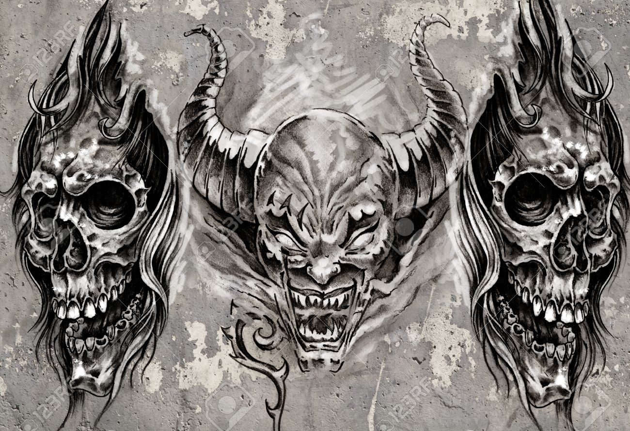 Tattoo art, 3 demons over grey background, Sketch Stock Photo - 17927170