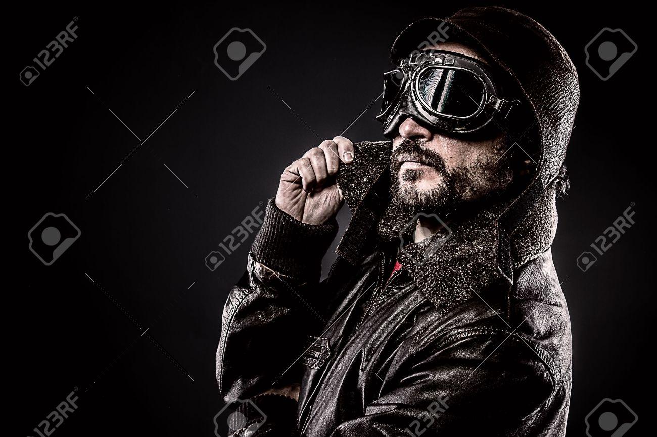 attractive pilot era hat and glasses - 21104862