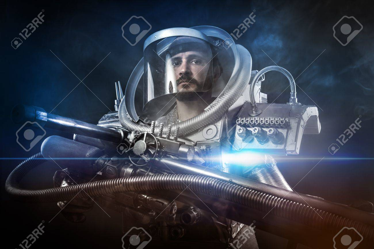 Astronaut, fantasy warrior with huge space weapon Stock Photo - 21135086