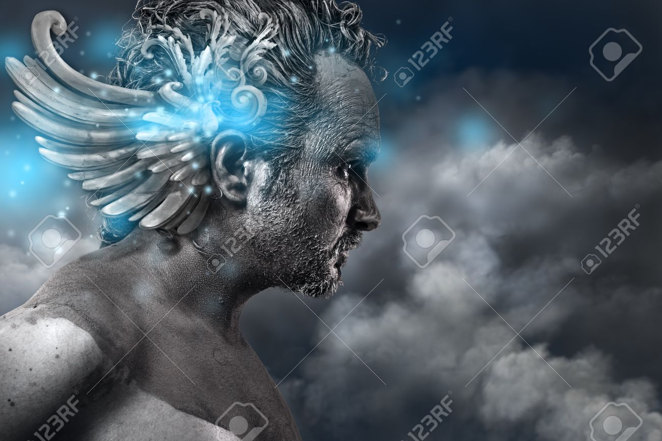 Ancient hero, fantasy image, ancient gods classic style with blue light effects Stock Photo - 22114218