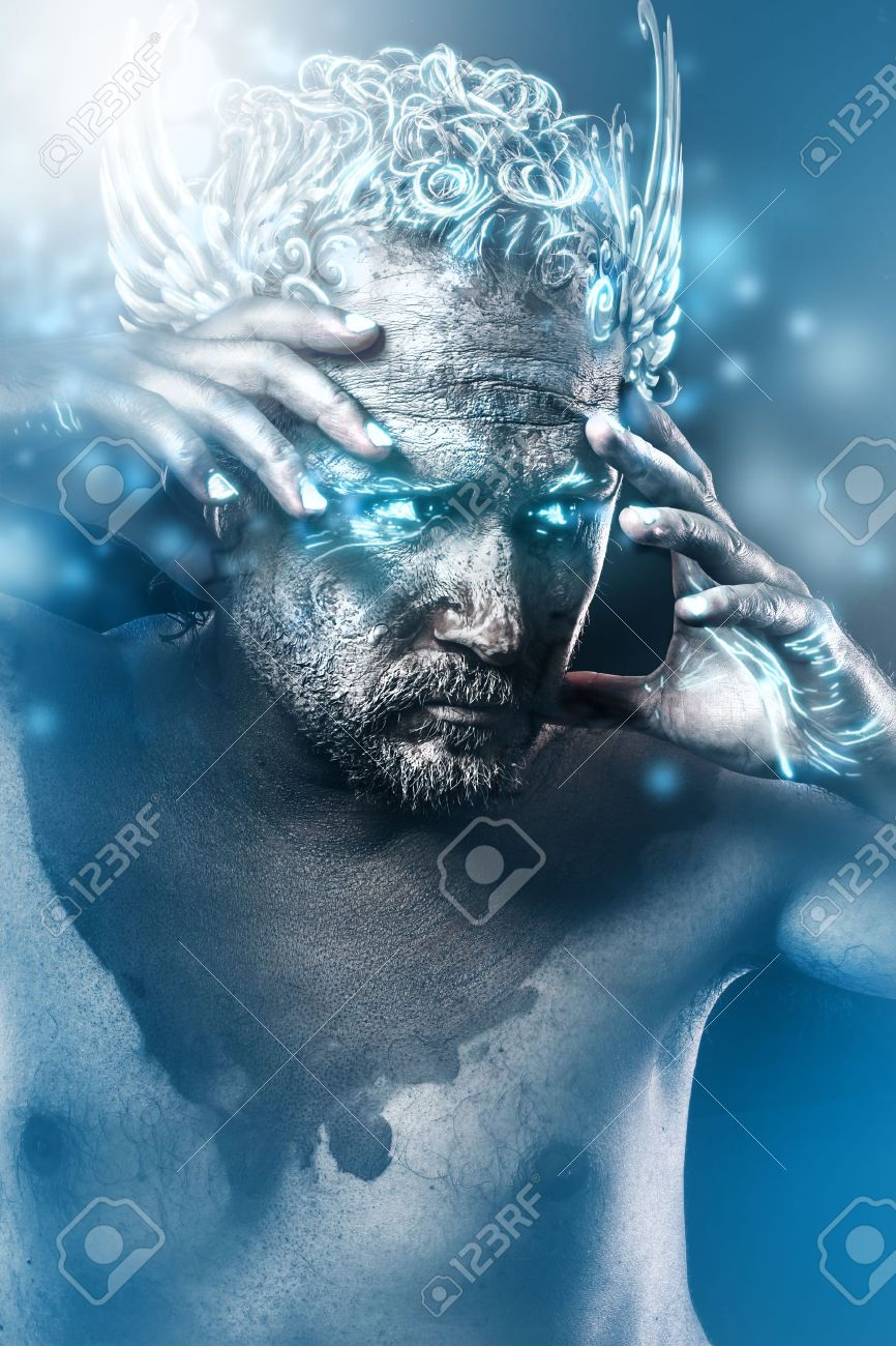 Knight, fantasy image, ancient gods classic style with blue light effects Stock Photo - 22114220