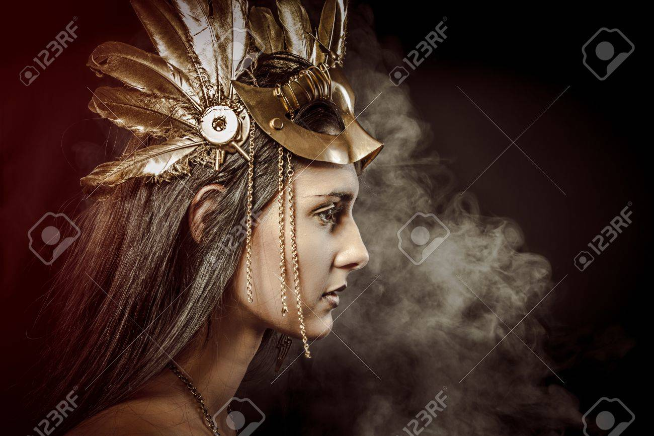 Fairy Queen, young with golden mask, ancient goddess - 22114303