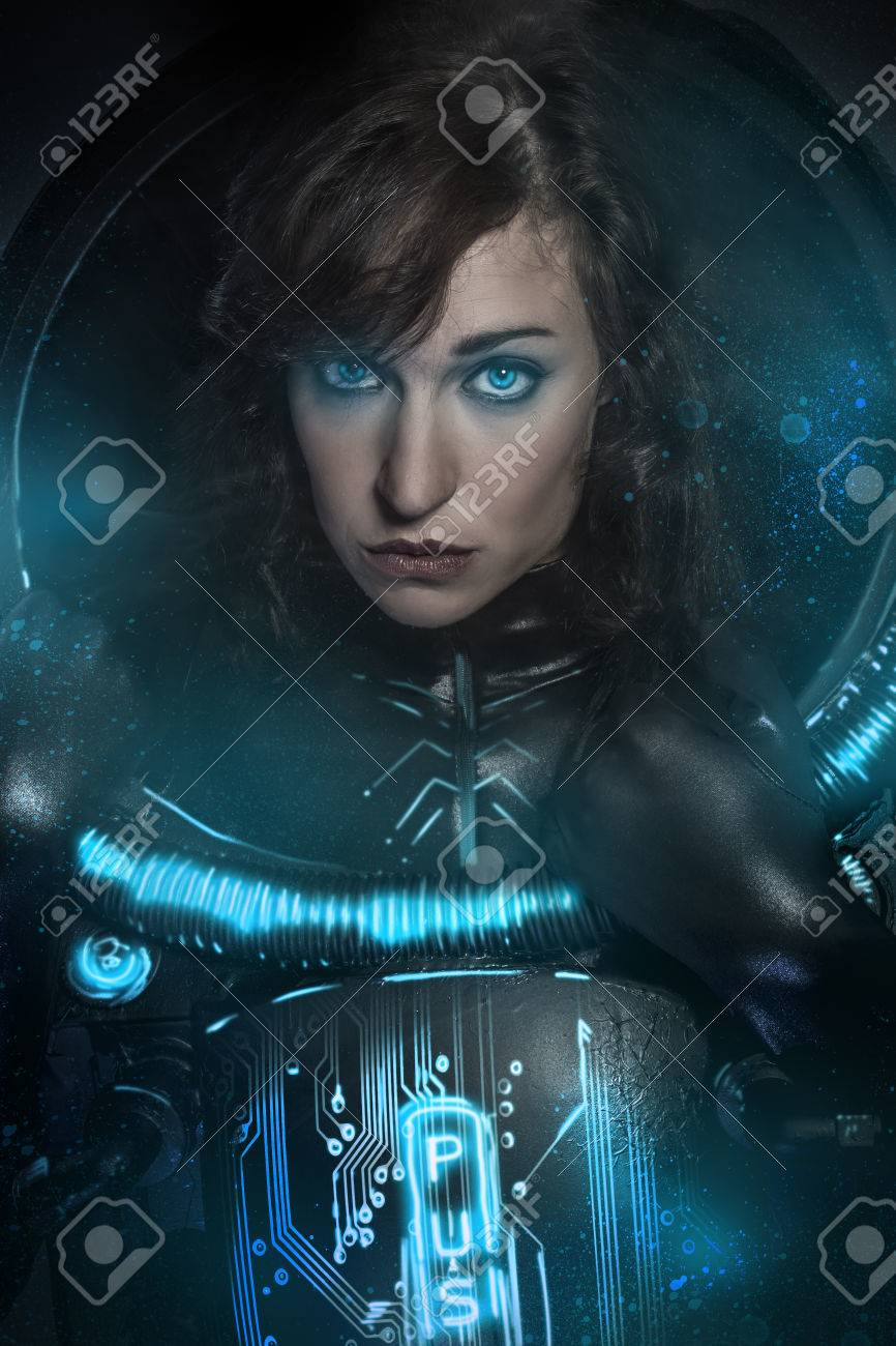 Sexy brunette in black latex costume , science fiction scene, fantasy armor - 23526939