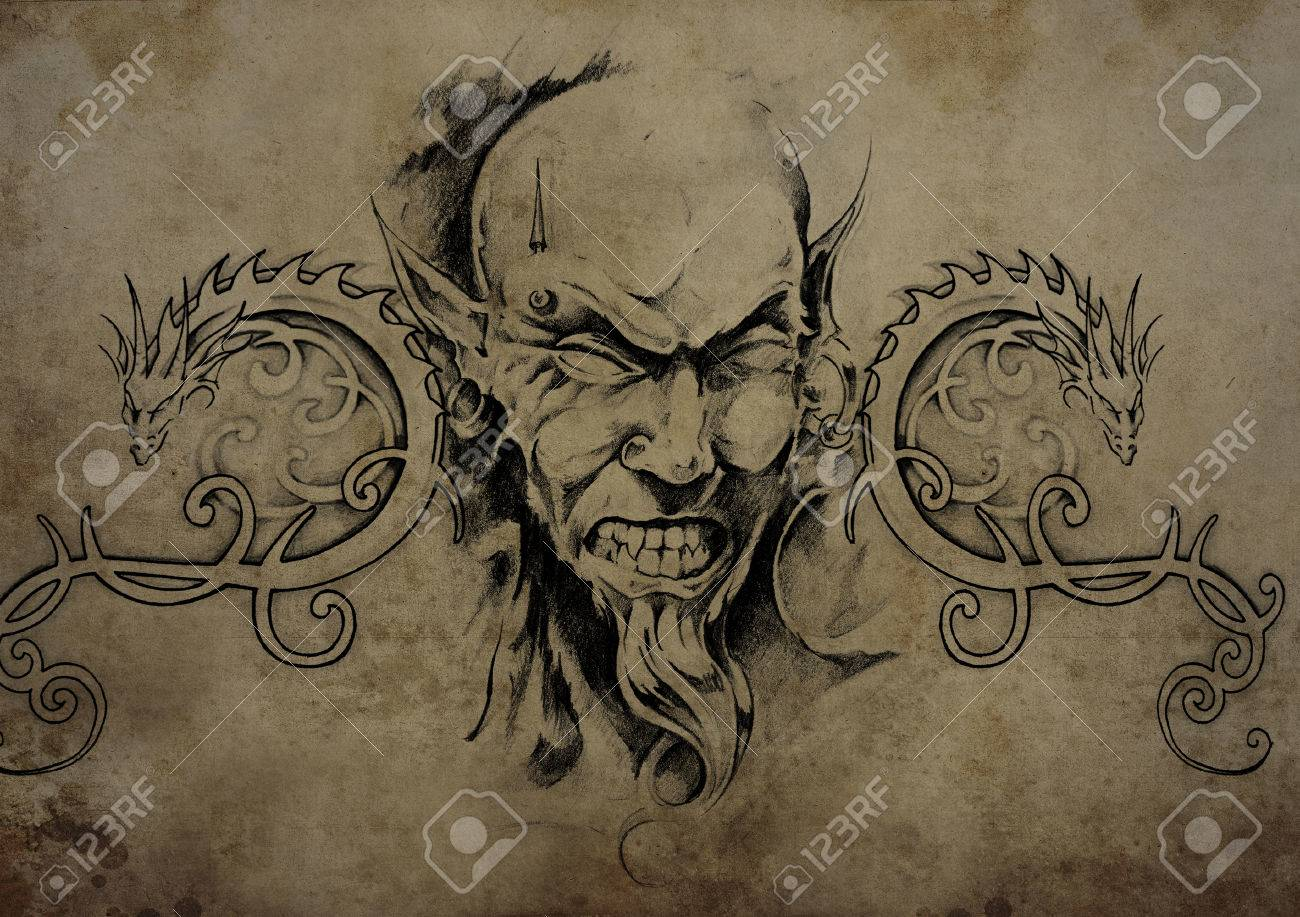 Tribal-Tattoos 24725813-Tattoo-skull-over-vintage-paper-black-tribal-tattoos-Stock-Photo
