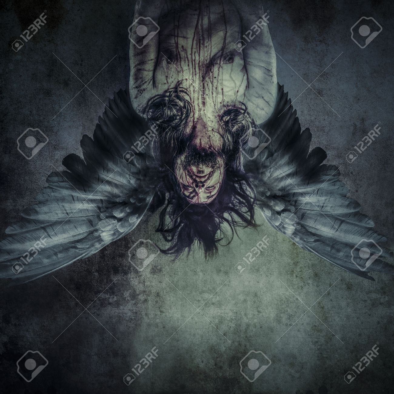 Fallen angel of death, Male model, evil, blind Stock Photo - 24885435