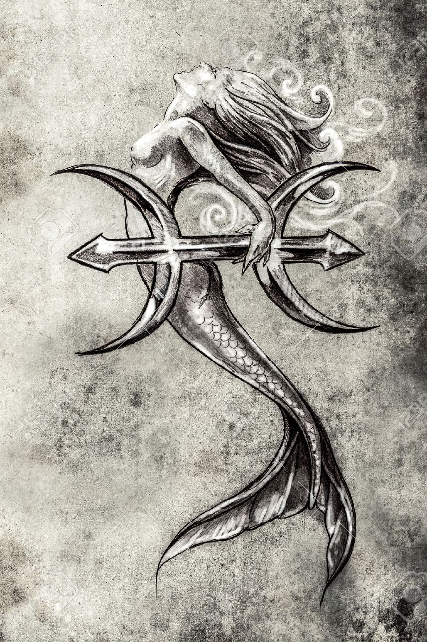 tattoo art sketch of a mermaid pisces vintage style stock photo