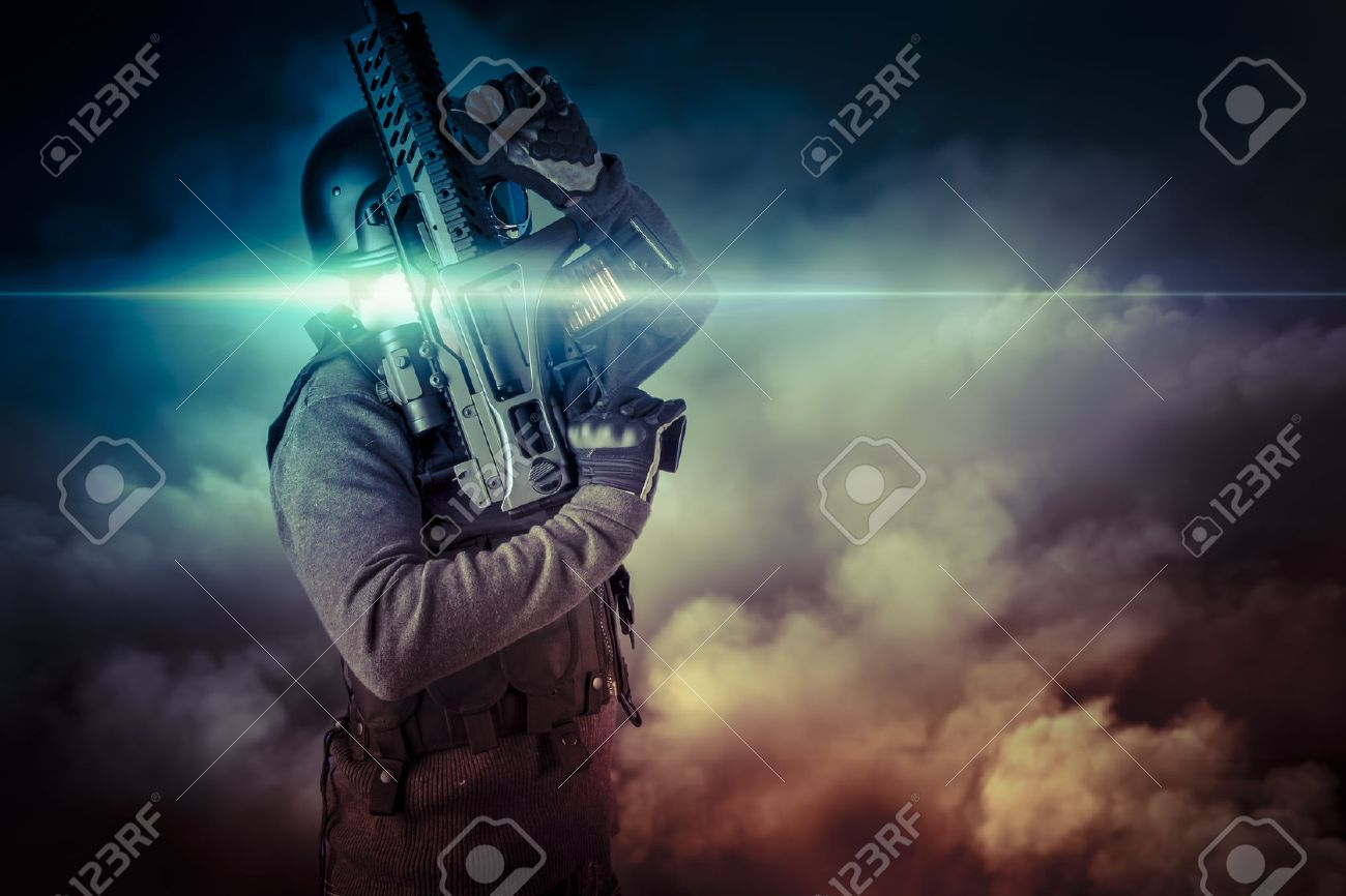 Soldier in uniform with rifle, assault sniper on apocalyptic clouds, firing Stock Photo - 25776432