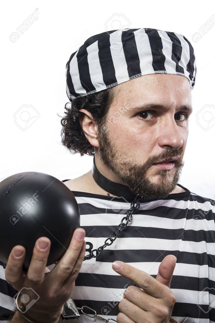 Solution, one caucasian man prisoner criminal with chain ball and handcuffs in studio isolated on white background Stock Photo - 26289111