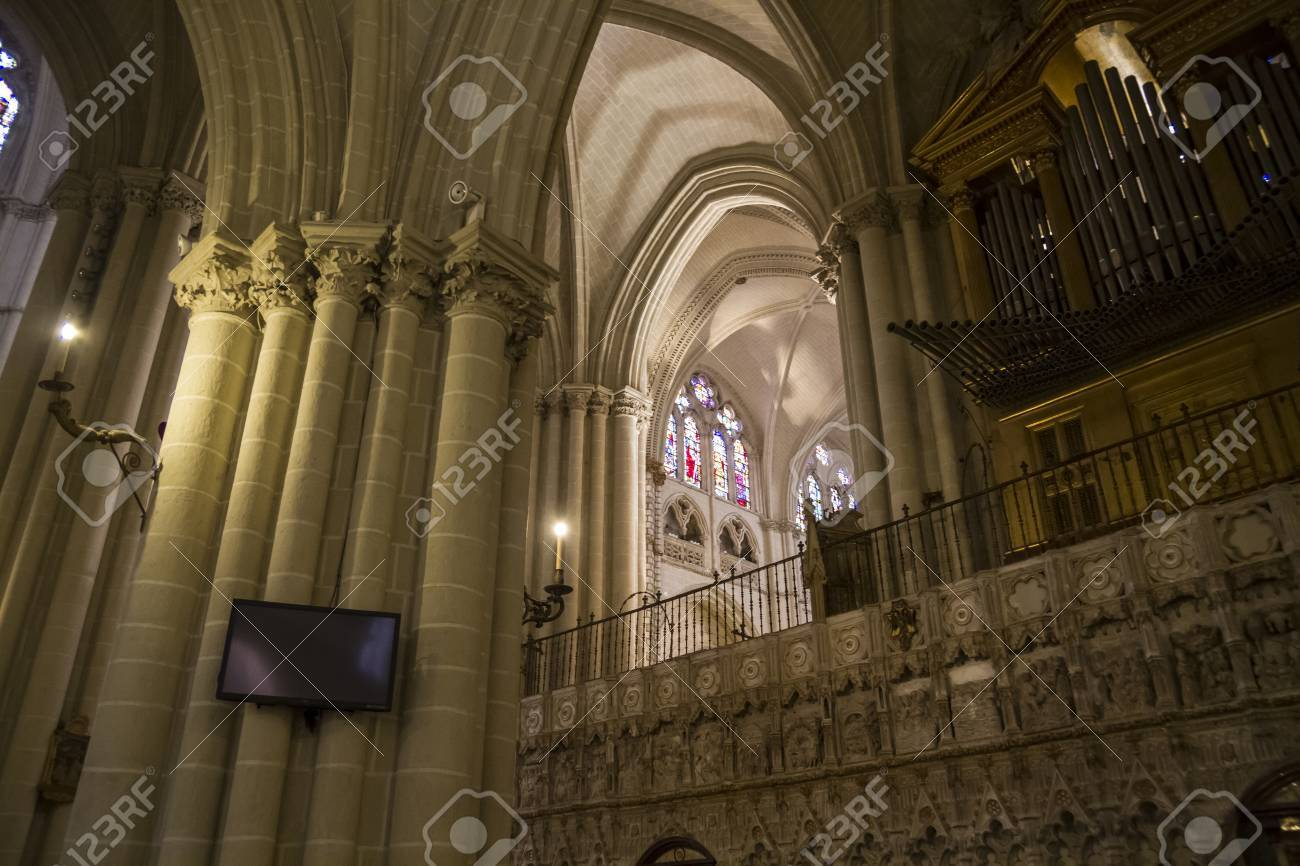Arcs Organ Columns And Gothic Art Spain Stock