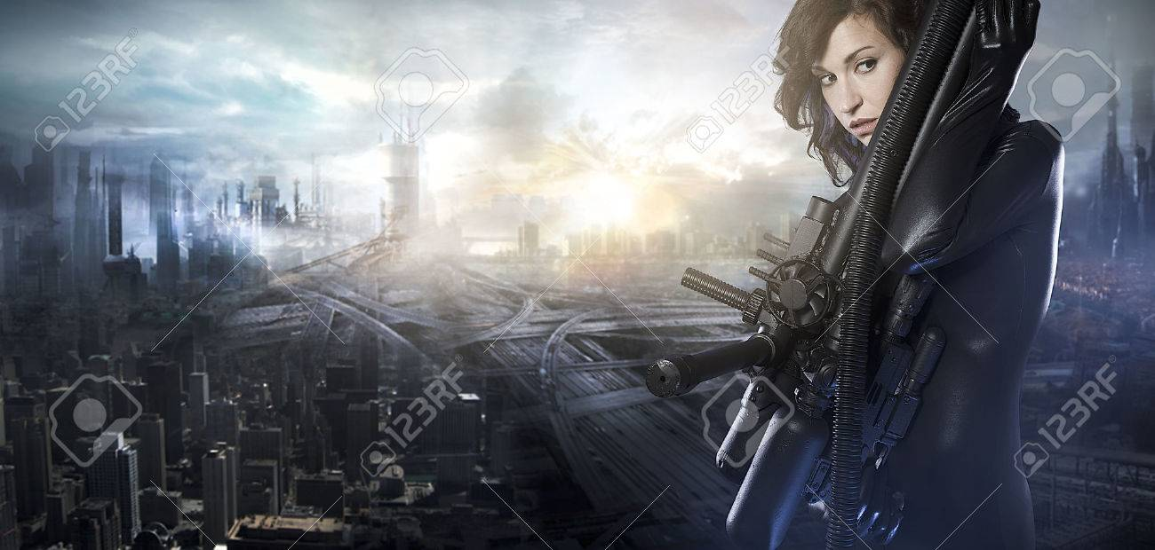 Future woman concept, black latex with neon lights over city destroyed - 26846405