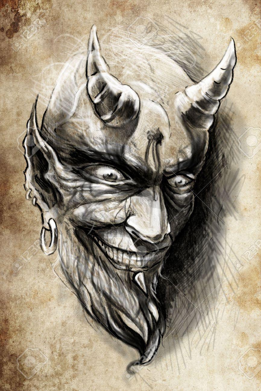 tattoo illustration, handmade draw over vintage paper - 26978534