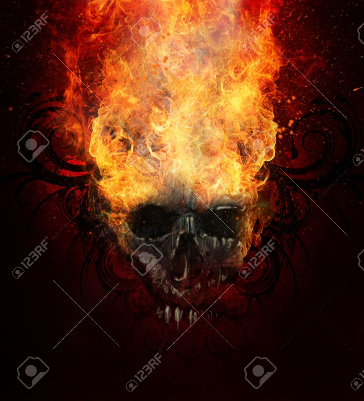 Burning skull. Sketch of tattoo art, fire with tribal flourishes Stock Photo - 27100365