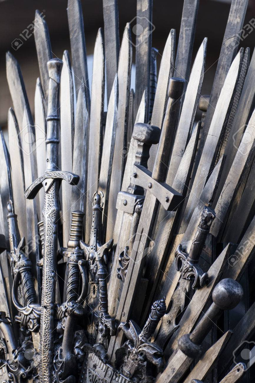 throne made of swords in a medieval fair Stock Photo - 28201331