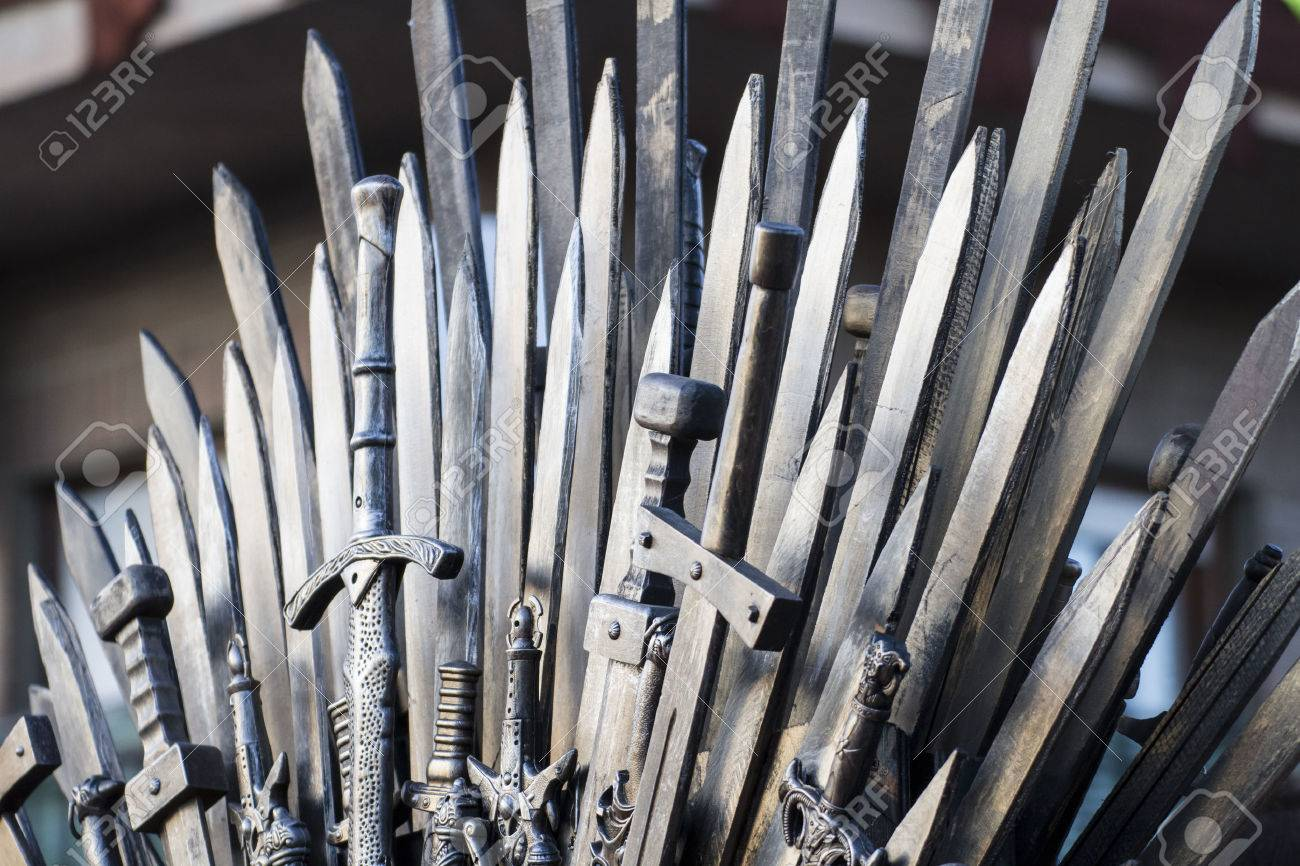 throne made of swords in a medieval fair Stock Photo - 28201332